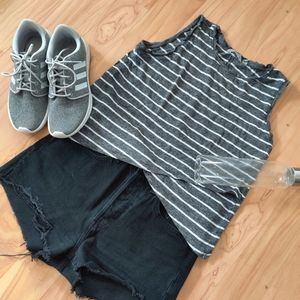Athleta | Striped Linen Criss Cross Tank